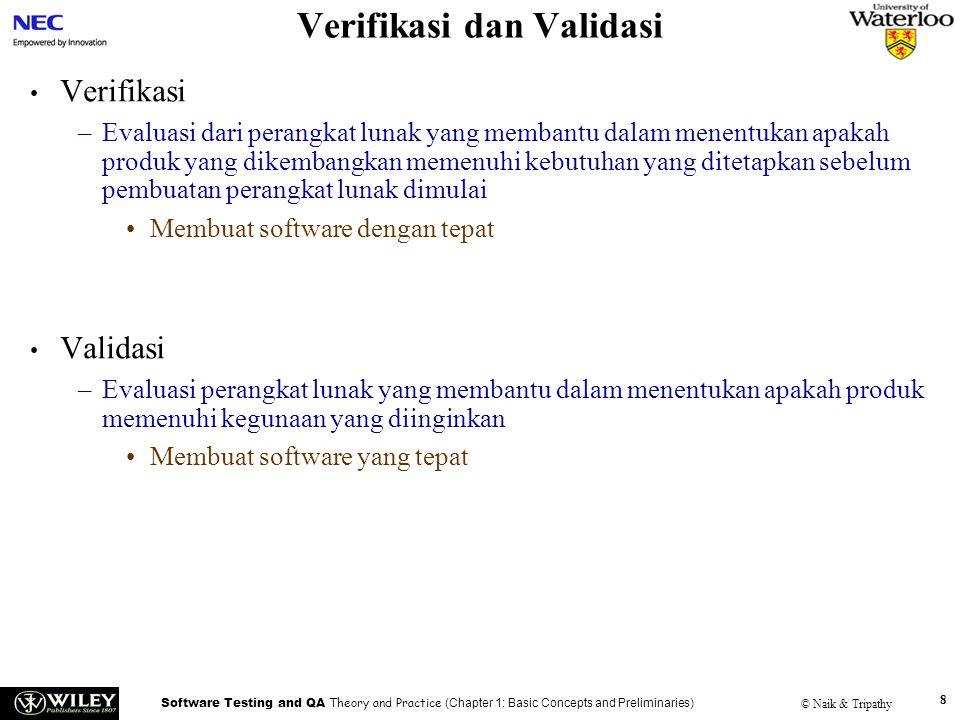 Software Testing and QA Theory and Practice (Chapter 1: Basic Concepts and Preliminaries) © Naik & Tripathy 9 Tujuan Pengujian Memastikan software bekerja dengan benar Memperbaiki kekurangan software Mengurangi resiko kegagalan Mengurangi biaya pengujian