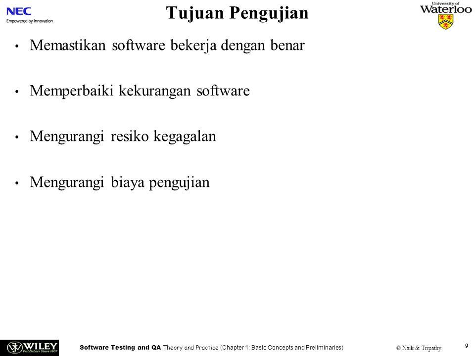 Software Testing and QA Theory and Practice (Chapter 1: Basic Concepts and Preliminaries) © Naik & Tripathy 9 Tujuan Pengujian Memastikan software bek