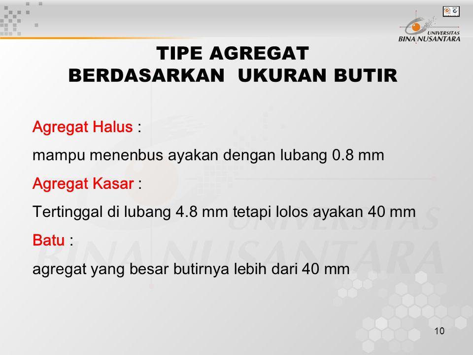 10 TIPE AGREGAT BERDASARKAN UKURAN BUTIR Agregat Halus : mampu menenbus ayakan dengan lubang 0.8 mm Agregat Kasar : Tertinggal di lubang 4.8 mm tetapi