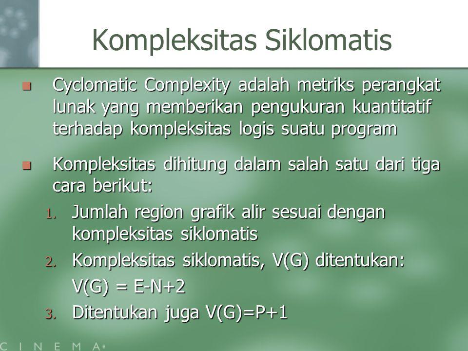 Kompleksitas Siklomatis Cyclomatic Complexity adalah metriks perangkat lunak yang memberikan pengukuran kuantitatif terhadap kompleksitas logis suatu program Cyclomatic Complexity adalah metriks perangkat lunak yang memberikan pengukuran kuantitatif terhadap kompleksitas logis suatu program Kompleksitas dihitung dalam salah satu dari tiga cara berikut: Kompleksitas dihitung dalam salah satu dari tiga cara berikut: 1.