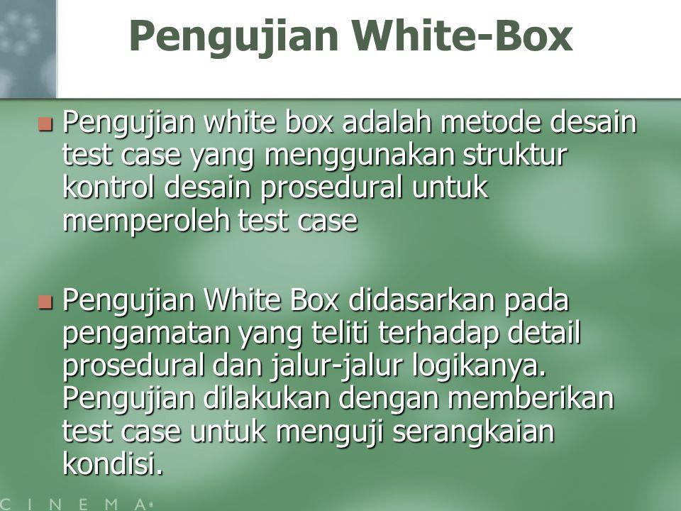 Pengujian White-Box Pengujian white box adalah metode desain test case yang menggunakan struktur kontrol desain prosedural untuk memperoleh test case Pengujian white box adalah metode desain test case yang menggunakan struktur kontrol desain prosedural untuk memperoleh test case Pengujian White Box didasarkan pada pengamatan yang teliti terhadap detail prosedural dan jalur-jalur logikanya.