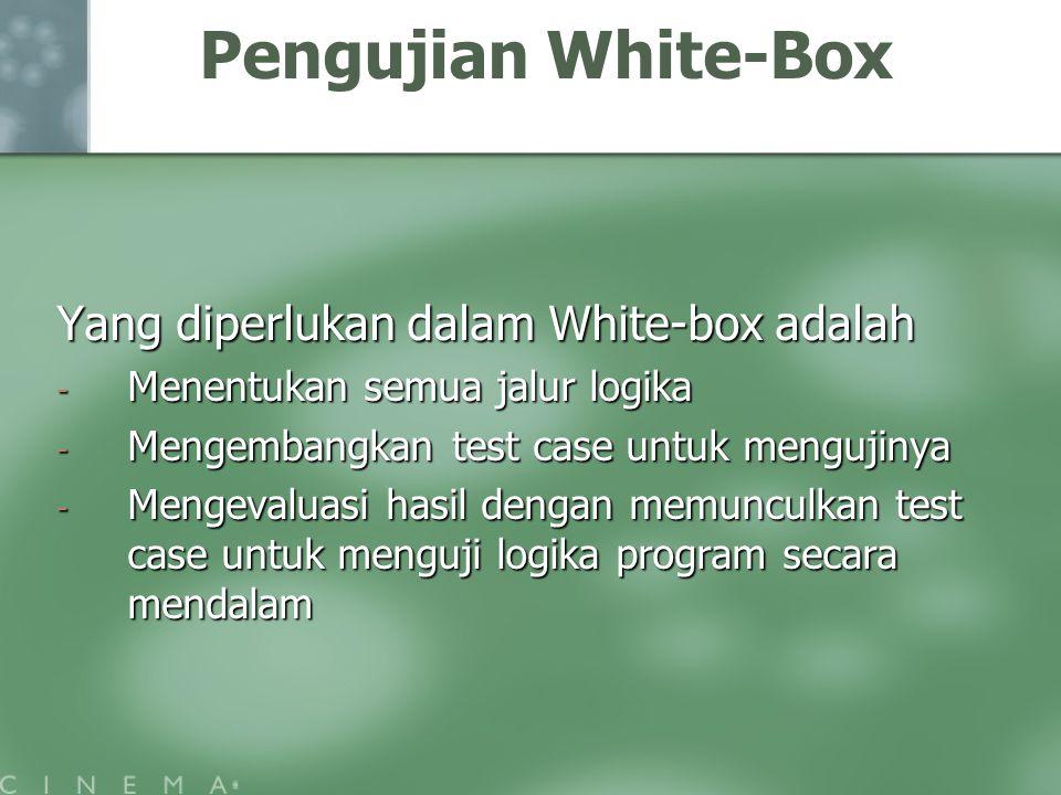 Pengujian White-Box Yang diperlukan dalam White-box adalah - Menentukan semua jalur logika - Mengembangkan test case untuk mengujinya - Mengevaluasi hasil dengan memunculkan test case untuk menguji logika program secara mendalam