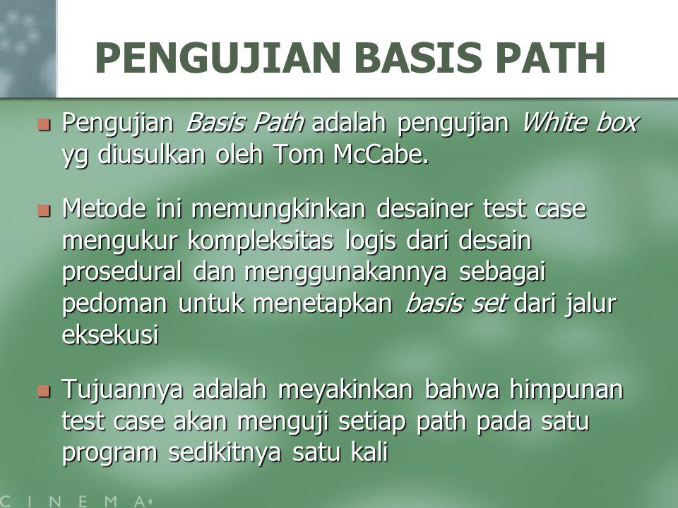 PENGUJIAN BASIS PATH Pengujian Basis Path adalah pengujian White box yg diusulkan oleh Tom McCabe. Pengujian Basis Path adalah pengujian White box yg