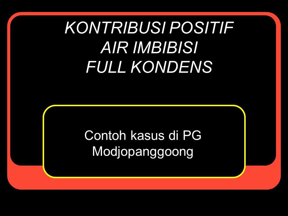 Selayang Pandang Air Imbibisi di PG Modjopanggoong Air imbibisi yang diberikan berasal dari air kondensat positif + air injeksi (air dingin untuk menjaga suhu imbibisi ≤70°).