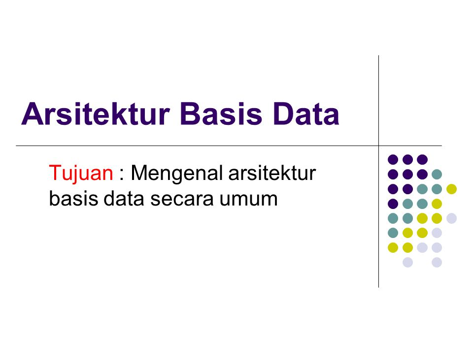 Arsitektur Sistem Basisdata Sistem terpusat Sistem Client--Server Sistem Parallel Sistem Terdistribusi (Tersebar) Tipe Network (jaringan)