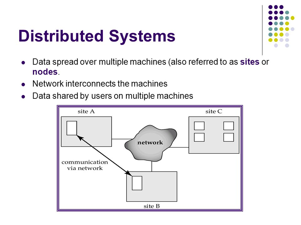 Distributed Systems Data spread over multiple machines (also referred to as sites or nodes.