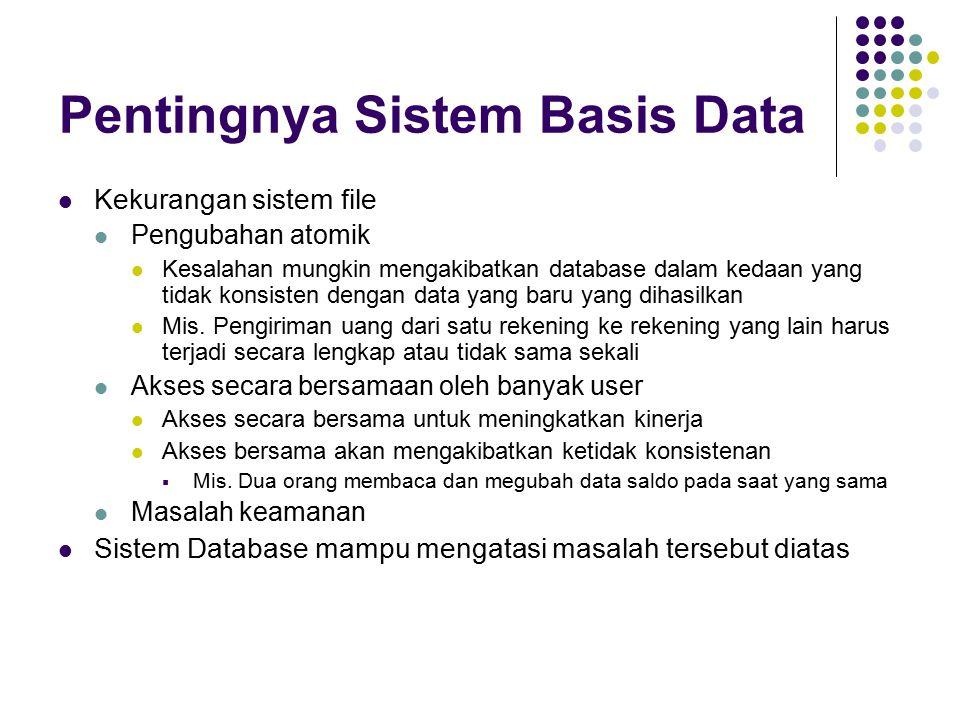 Arsitektur Database Parallel Shared memory – prosesor membagi memory kepada umum Shared disk -- prosesor membagi sebagian kapasitas disk Shared nothing -- prosesor membagi bukan memori dan bukan disk Hierarchical – gabungan berbagai arsitektur