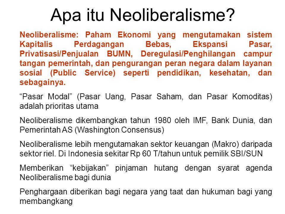 Neoliberalisme di Indonesia Pematokan Kurs (Pegged Rate) uang dihapus diganti dengan Kurs Mengambang (Floating Rate) Agar nilai uang stabil pemerintah membayar sekitar Rp 60 Trilyun setiap tahun ke pemegang SBI dan ORI Hancurnya Rupiah tahun 1998 dari Rp 2.200/1 USD hingga Rp 11.670/1 USD akibat Kurs Mengambang dari Neoliberalisme Penghapusan Subsidi BBM dan Listrik yang menaikan harga.