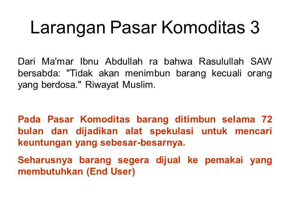 Larangan Pasar Komoditas 3 Dari Ma'mar Ibnu Abdullah ra bahwa Rasulullah SAW bersabda: