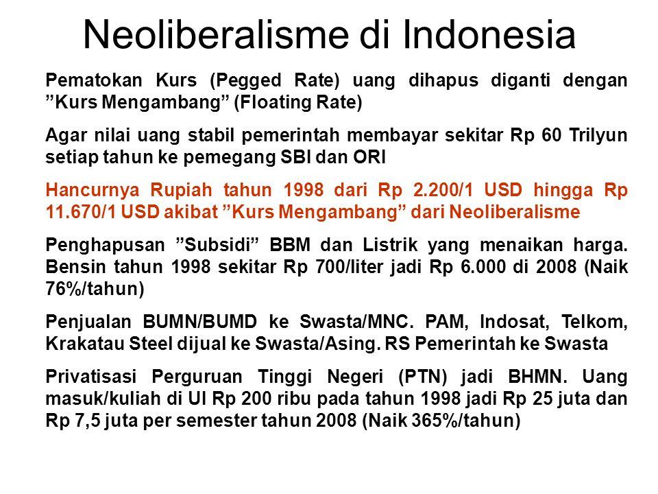 Akibat Neoliberalisme Deputi Operasi BP Migas Dodi Hidayat: Bagi hasil 85:15 dikurangi dulu dengan Cost Recovery hingga jadi 60:40 (Suara Pembaruan 10/11/2007).
