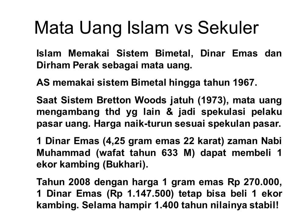 Mata Uang Islam vs Sekuler Islam Memakai Sistem Bimetal, Dinar Emas dan Dirham Perak sebagai mata uang. AS memakai sistem Bimetal hingga tahun 1967. S
