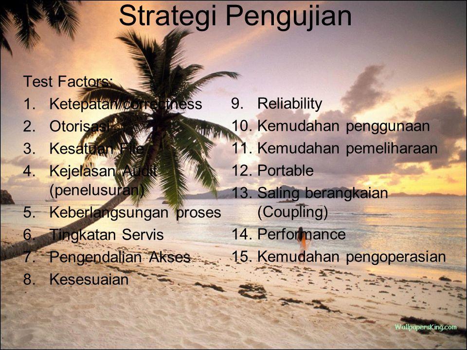 Strategi Pengujian Test Factors: 1.Ketepatan/correctness 2.Otorisasi 3.Kesatuan File 4.Kejelasan Audit (penelusuran) 5.Keberlangsungan proses 6.Tingka
