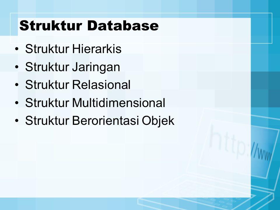 Struktur Database Struktur Hierarkis Struktur Jaringan Struktur Relasional Struktur Multidimensional Struktur Berorientasi Objek