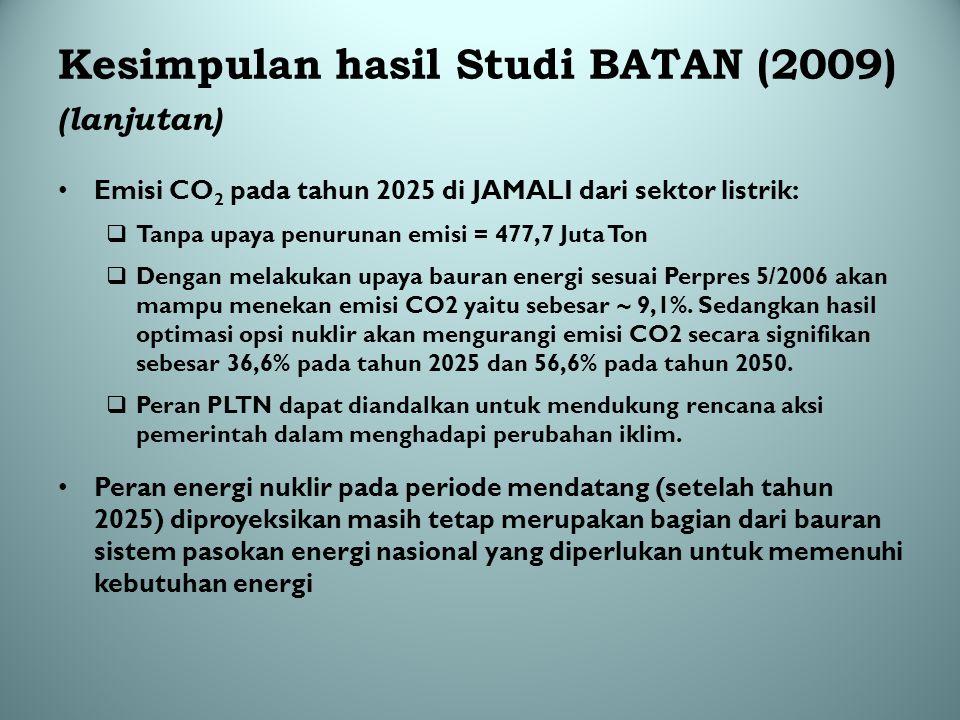 Kesimpulan hasil Studi BATAN (2009) (lanjutan) Emisi CO 2 pada tahun 2025 di JAMALI dari sektor listrik:  Tanpa upaya penurunan emisi = 477,7 Juta To
