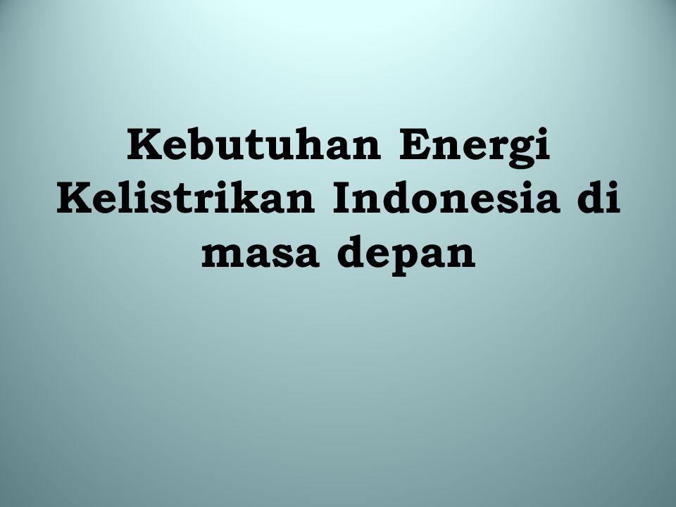 Data dan Proyeksi (2000-2050) Penduduk, Konsumsi Energy dan GDP/capita Tahun Populasi (*) (000) kWh/person (**) (kWh) GDP/Cap (***) (US$) 2000211,693400.4780 2005226,063509.31,269 2010239,600637.71,724 2015251,567798.52,197 2020261,868999.92,813 2025271,2271252.03,711 2030279,6661567.75,123 2035286,7671963.07,356 2040292,0612458.010,784 2045295,3983077.815,642 2050296,8853853.922,395 (*) Sumber: World Resources Institute (2009) (**) Data tahun 2000 & 2005 International Energy Agency (IEA) (2007); Proyeksi 2010 sd 2050 menggunakan asumsi pertumbuhan rata-rata sebesar 4.6% per tahun dari sumber U.S.
