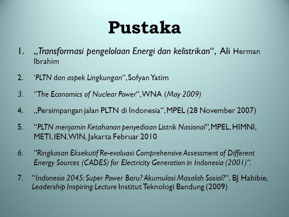 """Pustaka 1.""""Transformasi pengelolaan Energi dan kelistrikan"""", Ali Herman Ibrahim 2.'PLTN dan aspek Lingkungan"""", Sofyan Yatim 3.""""The Economics of Nuclea"""