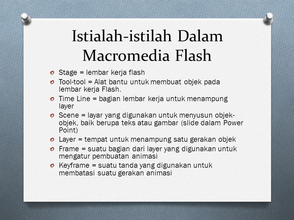 Istialah-istilah Dalam Macromedia Flash o Stage = lembar kerja flash o Tool-tool = Alat bantu untuk membuat objek pada lembar kerja Flash. o Time Line