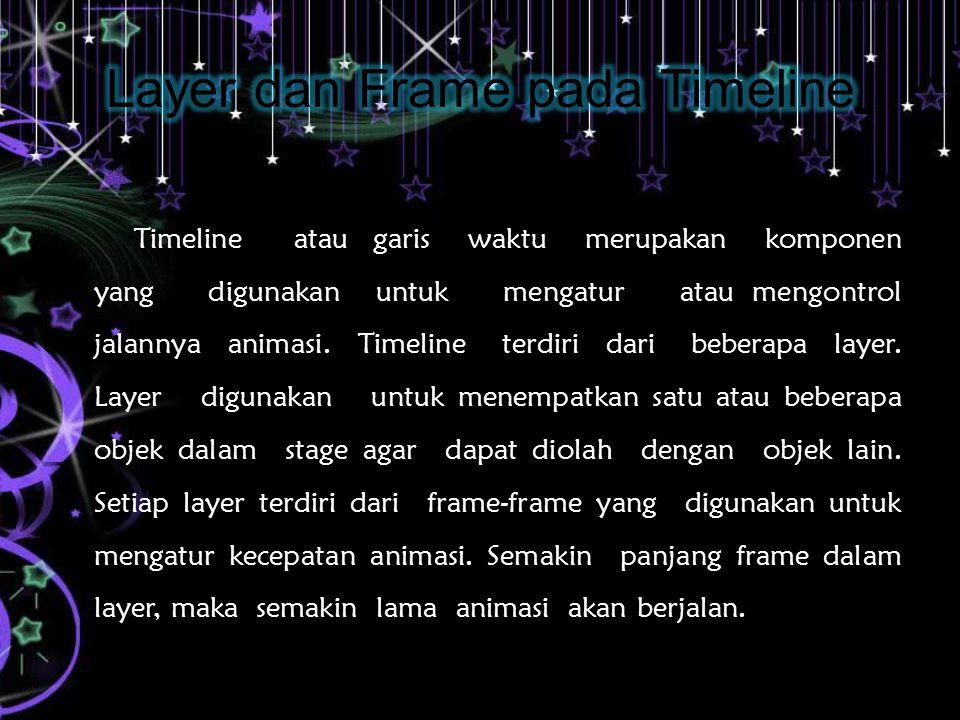 Timeline atau garis waktu merupakan komponen yang digunakan untuk mengatur atau mengontrol jalannya animasi.
