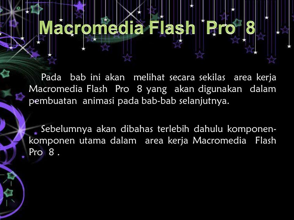 Pada bab ini akan melihat secara sekilas area kerja Macromedia Flash Pro 8 yang akan digunakan dalam pembuatan animasi pada bab-bab selanjutnya. Sebel