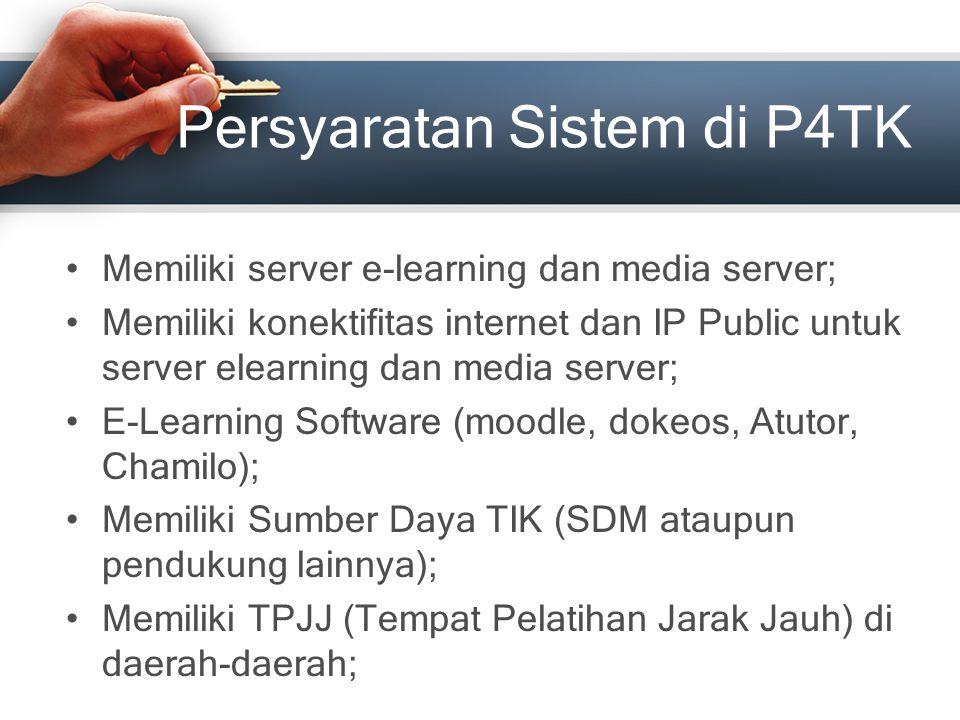 Persyaratan Sistem di P4TK Memiliki server e-learning dan media server; Memiliki konektifitas internet dan IP Public untuk server elearning dan media