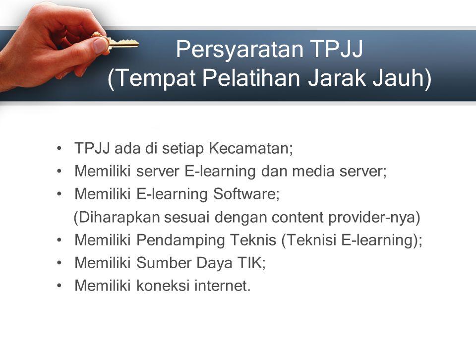 Persyaratan TPJJ (Tempat Pelatihan Jarak Jauh) TPJJ ada di setiap Kecamatan; Memiliki server E-learning dan media server; Memiliki E-learning Software