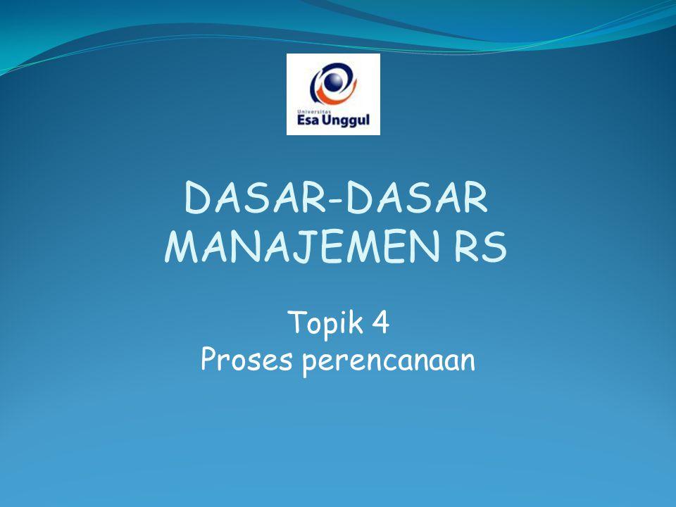 Topik 4 Proses perencanaan DASAR-DASAR MANAJEMEN RS