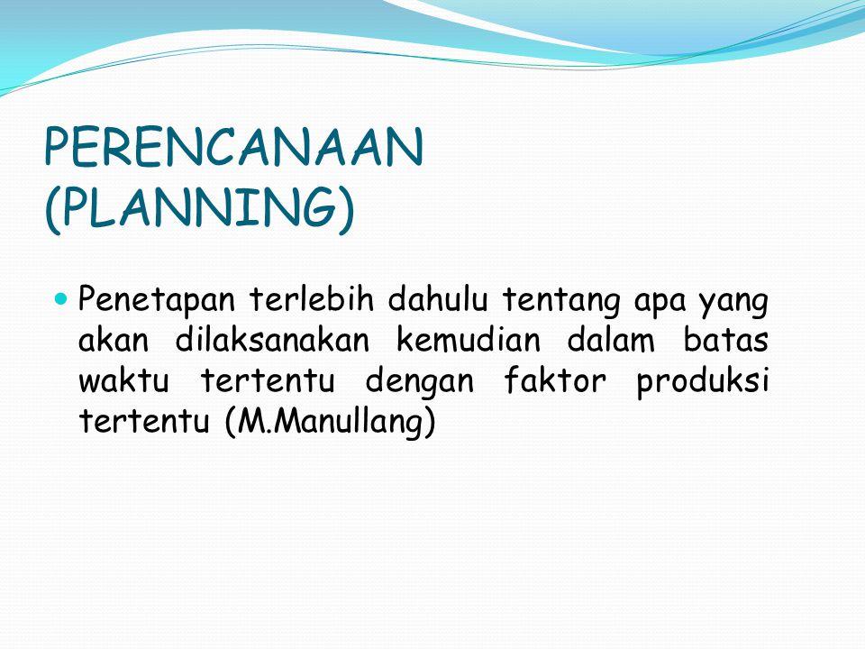 PERENCANAAN (PLANNING) Penetapan terlebih dahulu tentang apa yang akan dilaksanakan kemudian dalam batas waktu tertentu dengan faktor produksi tertent