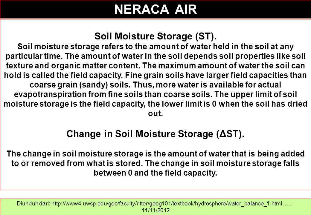 Soil Moisture Storage (ST). Soil moisture storage refers to the amount of water held in the soil at any particular time. The amount of water in the so