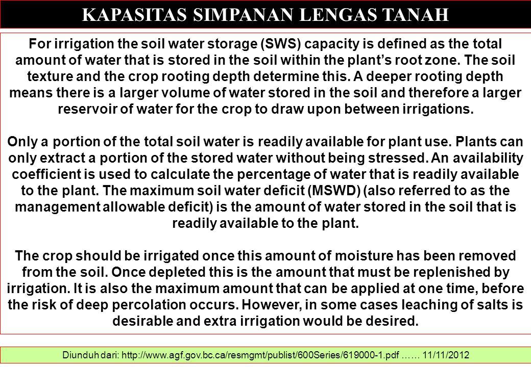 KAPASITAS SIMPANAN LENGAS TANAH Diunduh dari: http://www.agf.gov.bc.ca/resmgmt/publist/600Series/619000-1.pdf …… 11/11/2012 For irrigation the soil wa