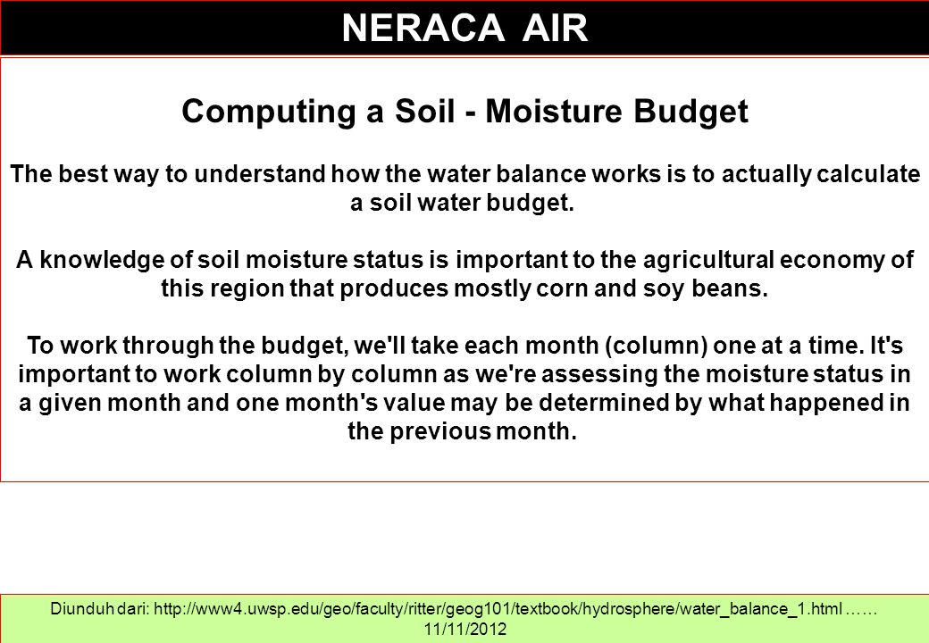 Computing a Soil - Moisture Budget The best way to understand how the water balance works is to actually calculate a soil water budget. A knowledge of
