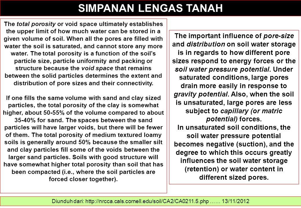 SIMPANAN LENGAS TANAH Diunduh dari: http://nrcca.cals.cornell.edu/soil/CA2/CA0211.5.php …… 13/11/2012 The total porosity or void space ultimately esta