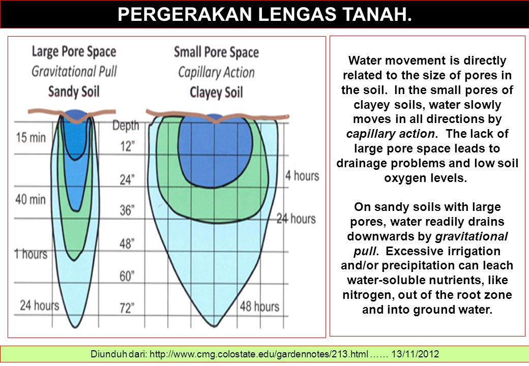 PERGERAKAN LENGAS TANAH. Diunduh dari: http://www.cmg.colostate.edu/gardennotes/213.html …… 13/11/2012 Water movement is directly related to the size