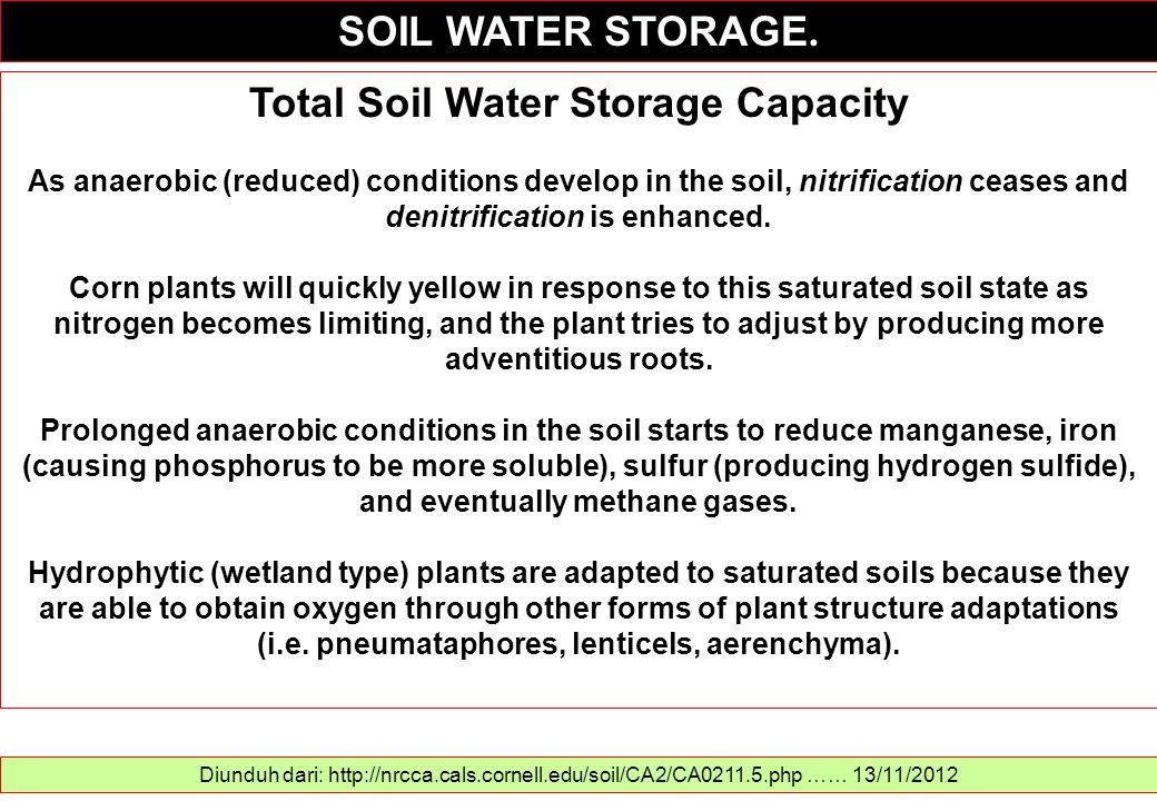 SOIL WATER STORAGE. Diunduh dari: http://nrcca.cals.cornell.edu/soil/CA2/CA0211.5.php …… 13/11/2012 Total Soil Water Storage Capacity As anaerobic (re
