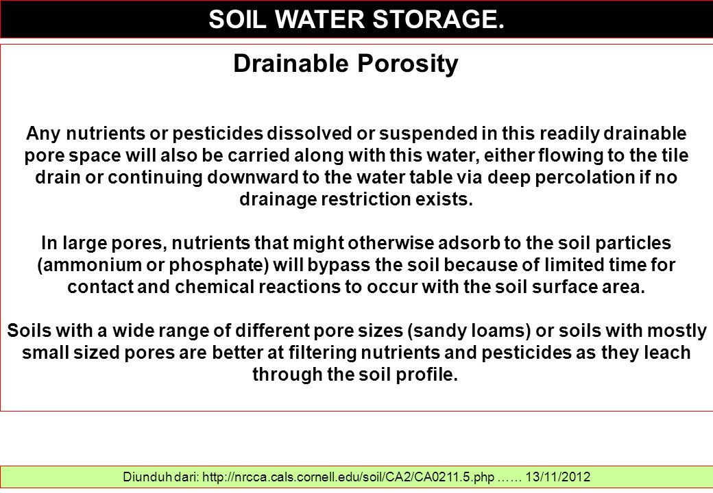 SOIL WATER STORAGE. Diunduh dari: http://nrcca.cals.cornell.edu/soil/CA2/CA0211.5.php …… 13/11/2012 Drainable Porosity Any nutrients or pesticides dis