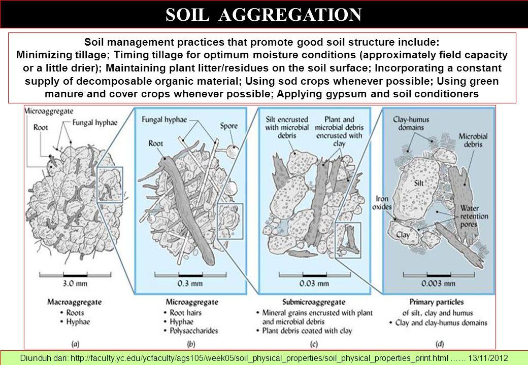 SOIL AGGREGATION Diunduh dari: http://faculty.yc.edu/ycfaculty/ags105/week05/soil_physical_properties/soil_physical_properties_print.html …… 13/11/201