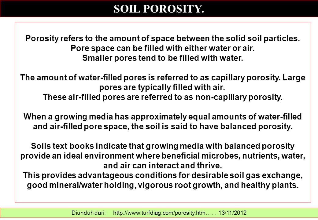 SOIL POROSITY. Diunduh dari: http://www.turfdiag.com/porosity.htm…… 13/11/2012 Porosity refers to the amount of space between the solid soil particles