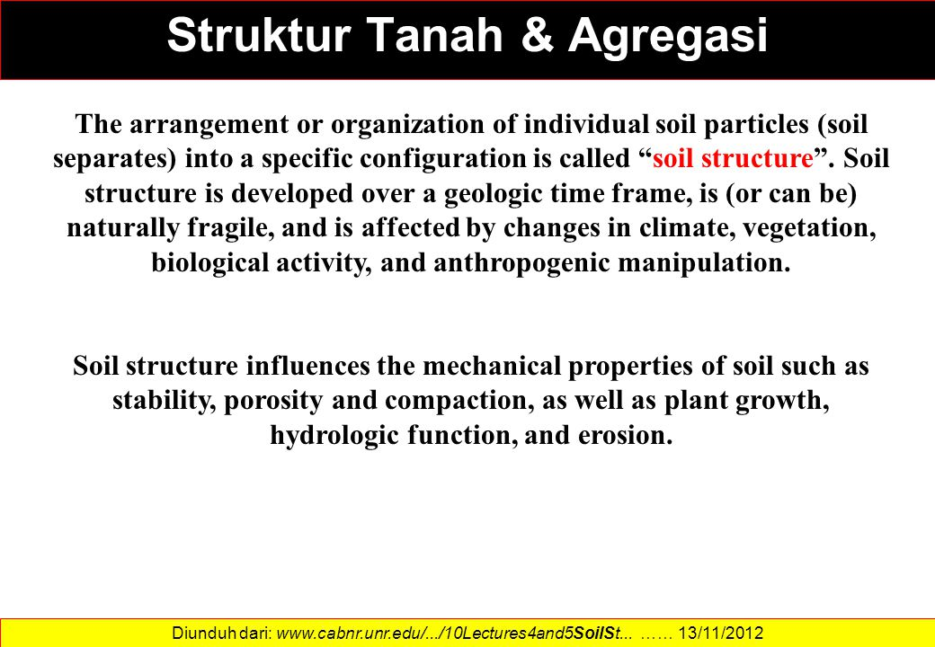 """The arrangement or organization of individual soil particles (soil separates) into a specific configuration is called """"soil structure"""". Soil structure"""