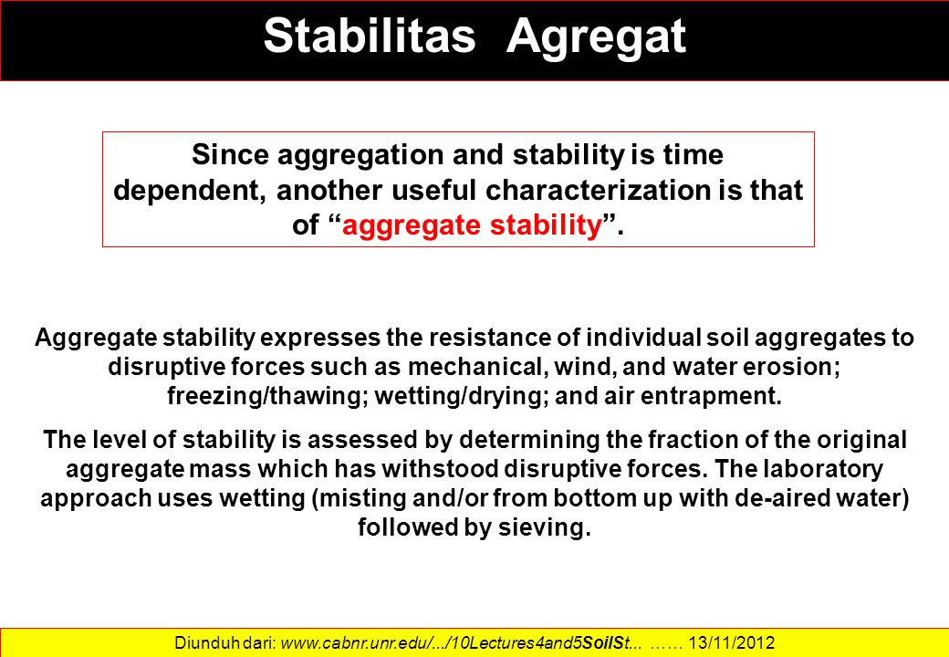 """Since aggregation and stability is time dependent, another useful characterization is that of """"aggregate stability"""". Aggregate stability expresses the"""