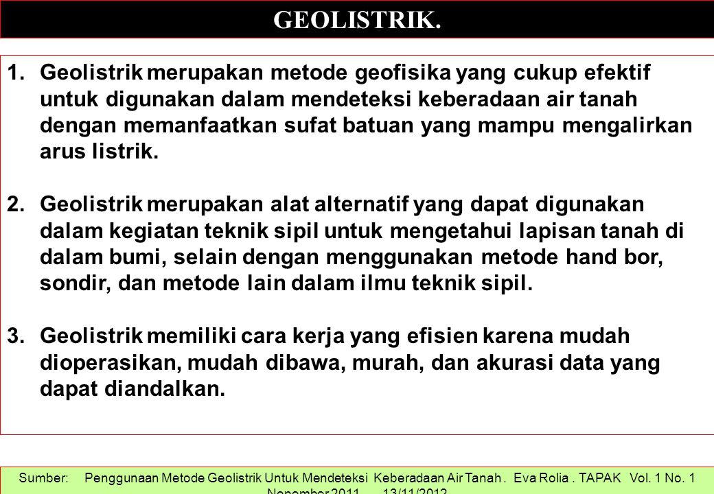 GEOLISTRIK. 1.Geolistrik merupakan metode geofisika yang cukup efektif untuk digunakan dalam mendeteksi keberadaan air tanah dengan memanfaatkan sufat