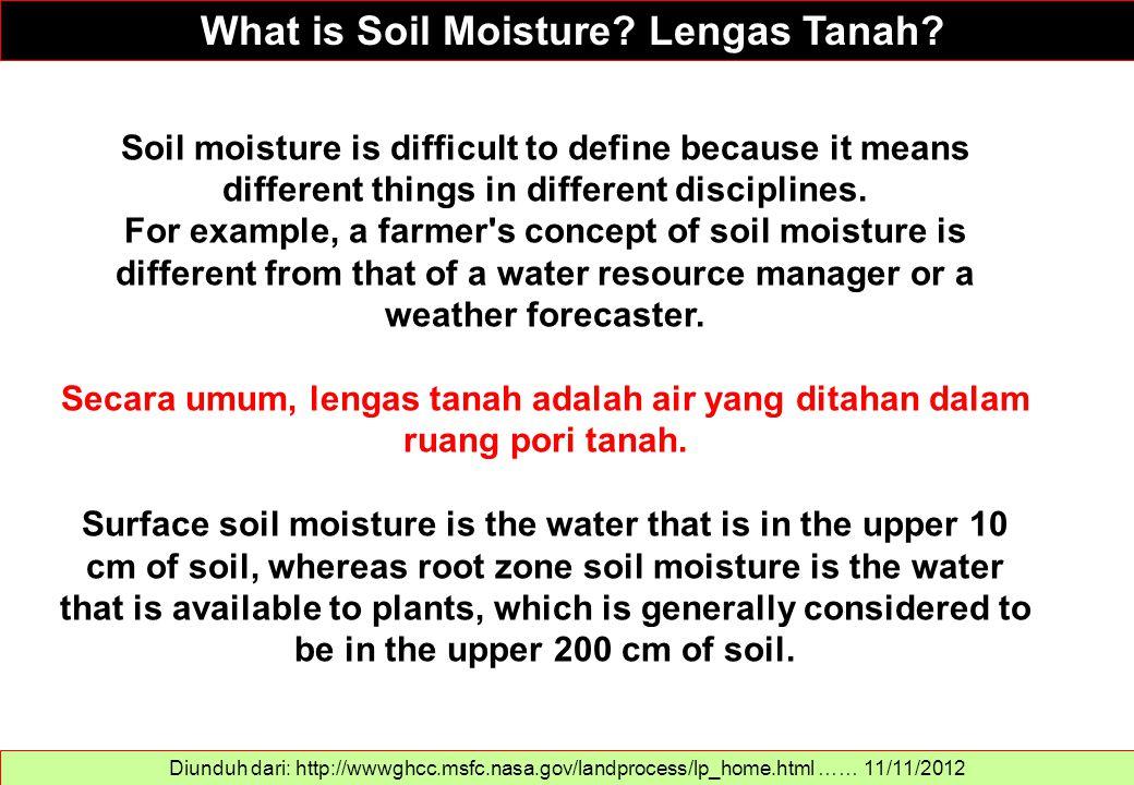 What is Soil Moisture? Lengas Tanah? Diunduh dari: http://wwwghcc.msfc.nasa.gov/landprocess/lp_home.html …… 11/11/2012 Soil moisture is difficult to d