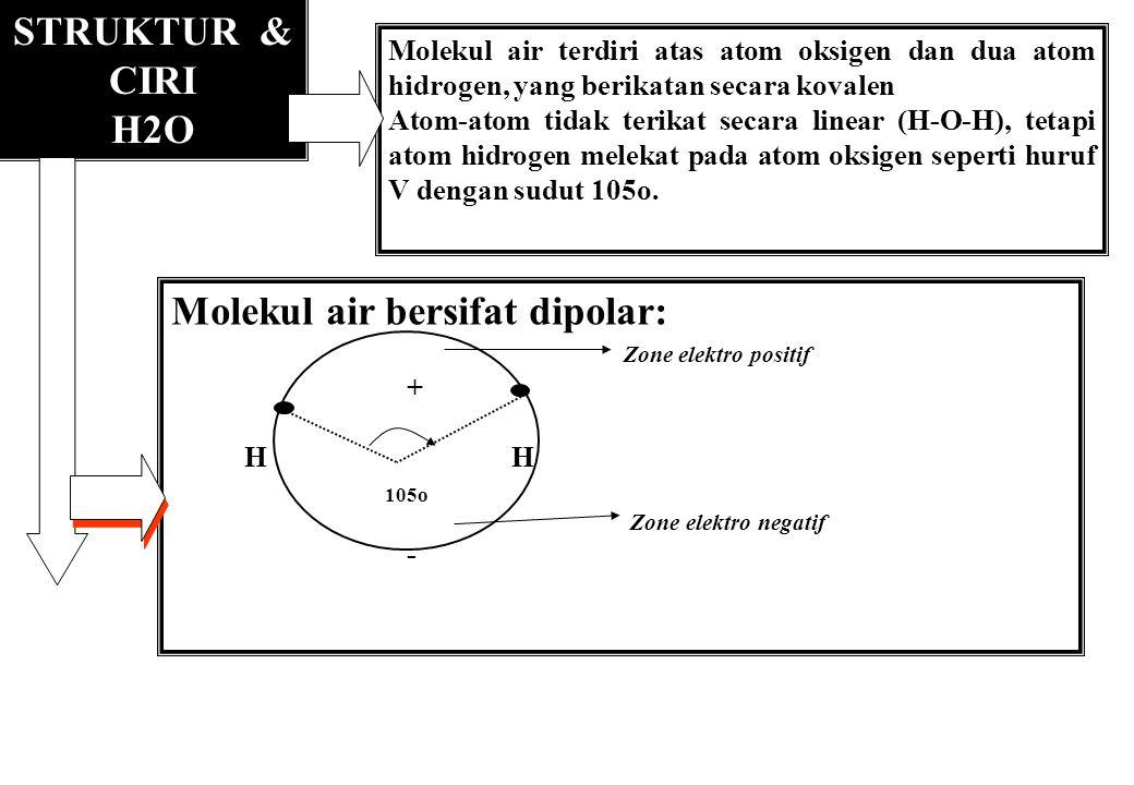 STRUKTUR & CIRI H2O Molekul air terdiri atas atom oksigen dan dua atom hidrogen, yang berikatan secara kovalen Atom-atom tidak terikat secara linear (