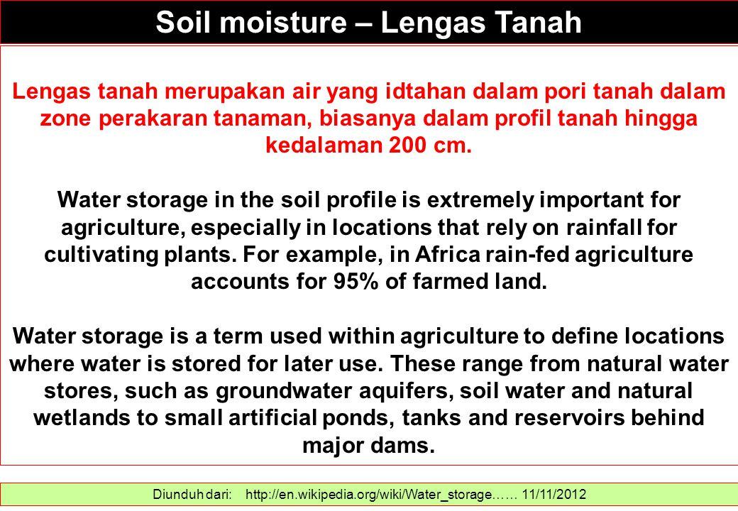 Soil moisture – Lengas Tanah Diunduh dari: http://en.wikipedia.org/wiki/Water_storage…… 11/11/2012 Lengas tanah merupakan air yang idtahan dalam pori