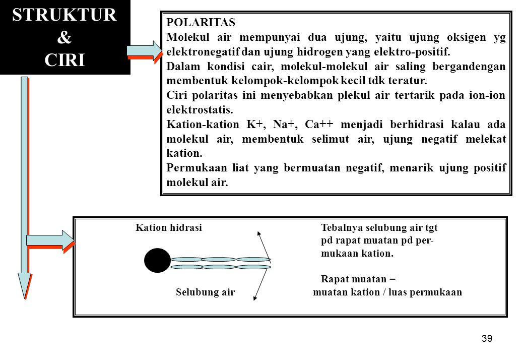39 STRUKTUR & CIRI POLARITAS Molekul air mempunyai dua ujung, yaitu ujung oksigen yg elektronegatif dan ujung hidrogen yang elektro-positif. Dalam kon