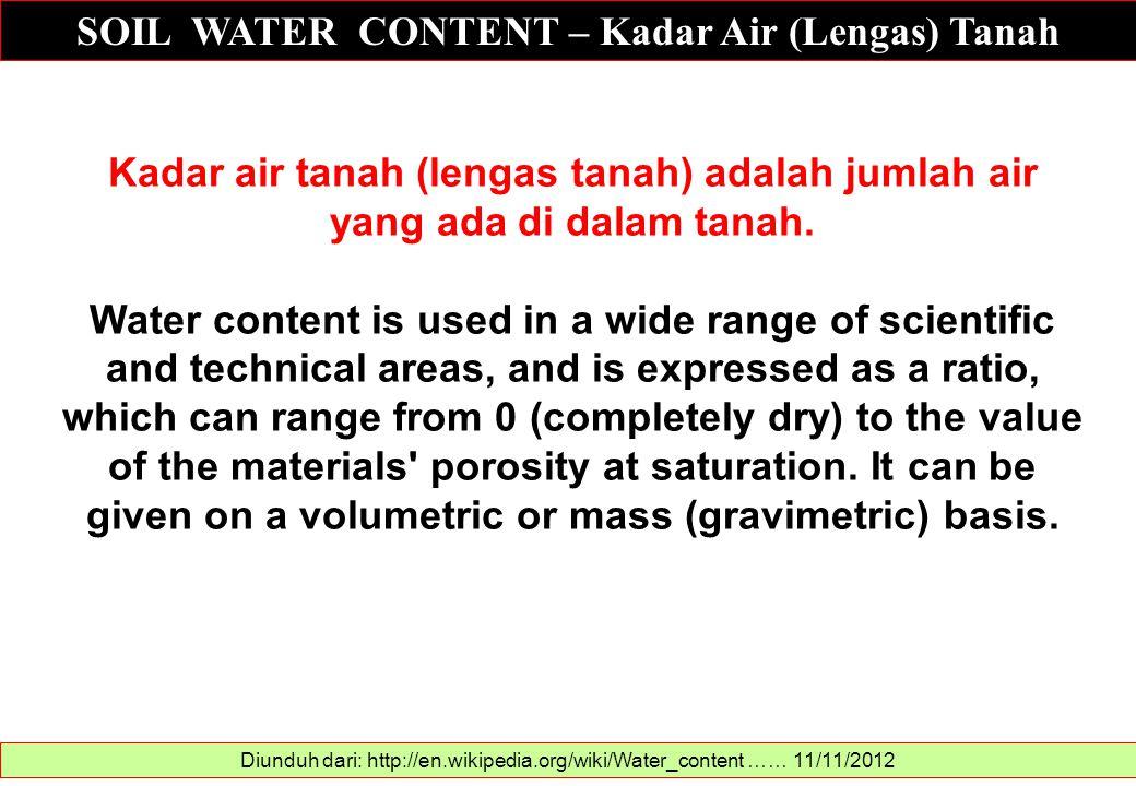 SOIL WATER CONTENT – Kadar Air (Lengas) Tanah Diunduh dari: http://en.wikipedia.org/wiki/Water_content …… 11/11/2012 Kadar air tanah (lengas tanah) ad