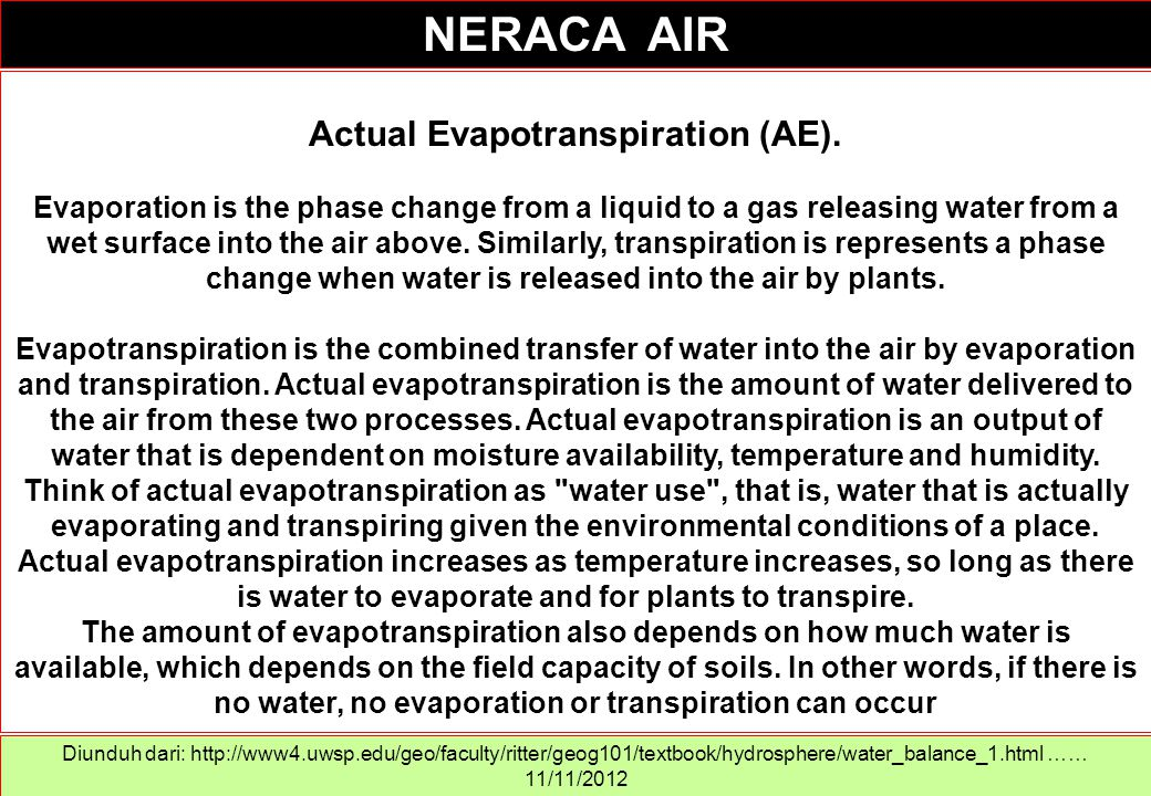 Actual Evapotranspiration (AE). Evaporation is the phase change from a liquid to a gas releasing water from a wet surface into the air above. Similarl