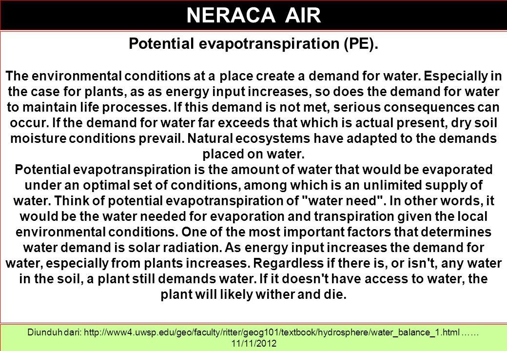 Kalau tanaman menyerap air dari tanah, jumlah air tersedia yang tersisa dalam tanah menjadi berkurang.