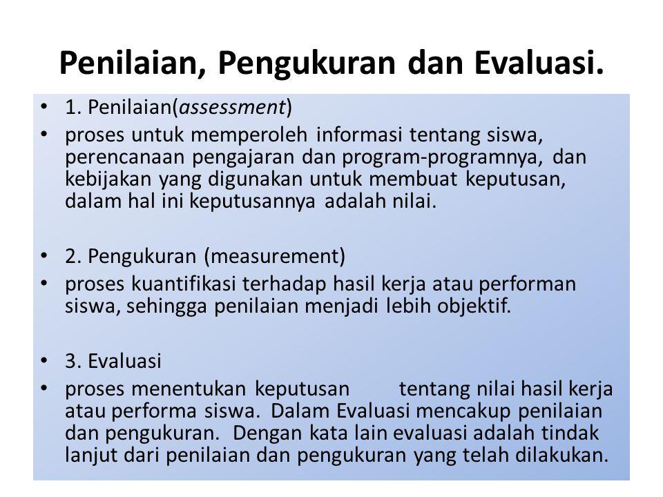 Penilaian, Pengukuran dan Evaluasi. 1. Penilaian(assessment) proses untuk memperoleh informasi tentang siswa, perencanaan pengajaran dan program-progr
