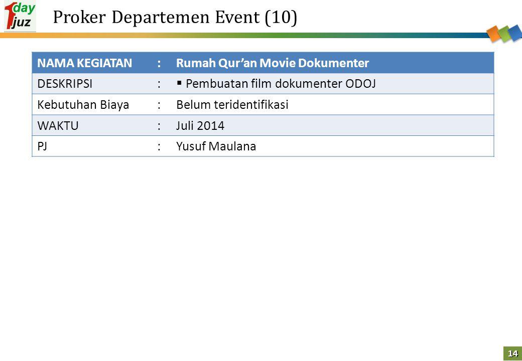 14 Proker Departemen Event (10) NAMA KEGIATAN:Rumah Qur'an Movie Dokumenter DESKRIPSI:  Pembuatan film dokumenter ODOJ Kebutuhan Biaya:Belum terident