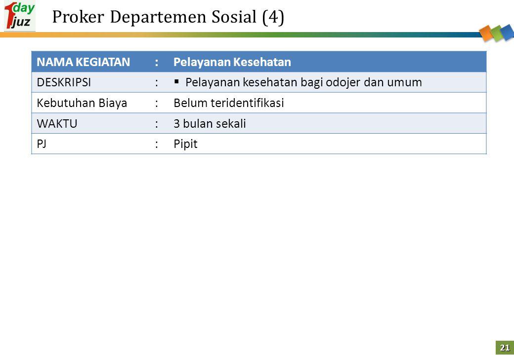 21 Proker Departemen Sosial (4) NAMA KEGIATAN:Pelayanan Kesehatan DESKRIPSI:  Pelayanan kesehatan bagi odojer dan umum Kebutuhan Biaya:Belum terident