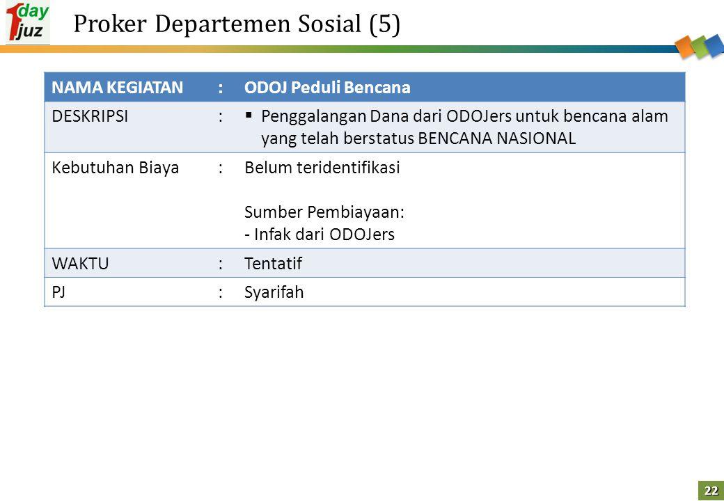 22 Proker Departemen Sosial (5) NAMA KEGIATAN:ODOJ Peduli Bencana DESKRIPSI:  Penggalangan Dana dari ODOJers untuk bencana alam yang telah berstatus